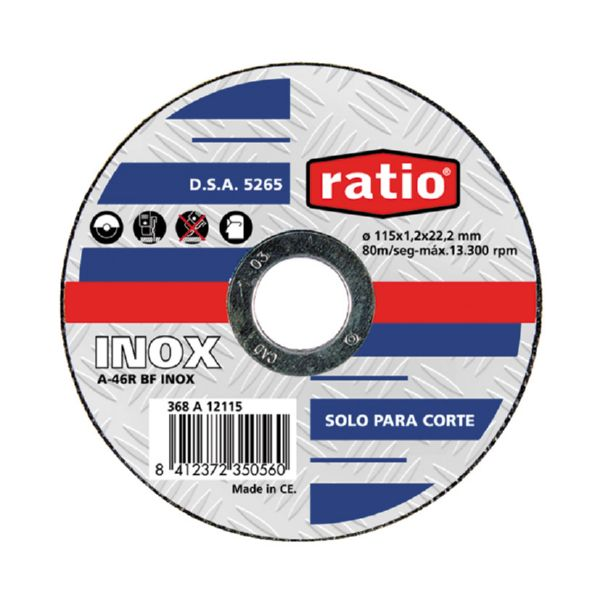 DISCO CORTE INOX METAL  115x1,0 MM