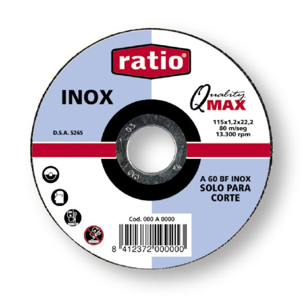 DISCO CORTE INOX METAL Ø 125 x 1 mm.