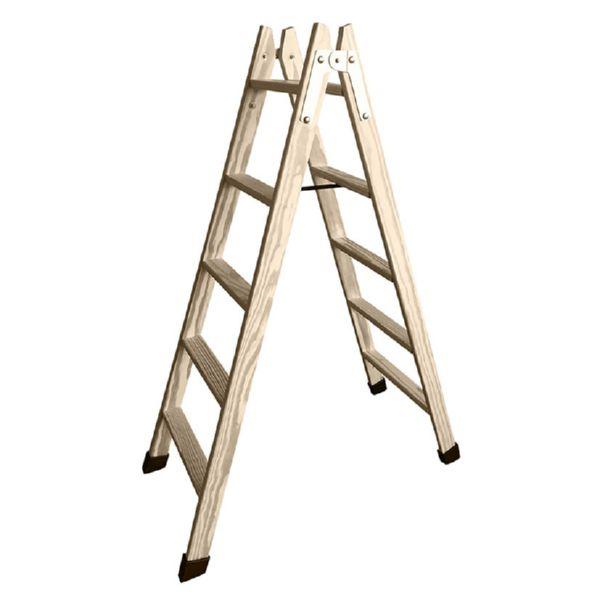Escalera tijera de madera 7 peldanos planos. Tacos de goma