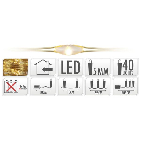 Luces led en alambre color oro con 40 micro Led blanco calido