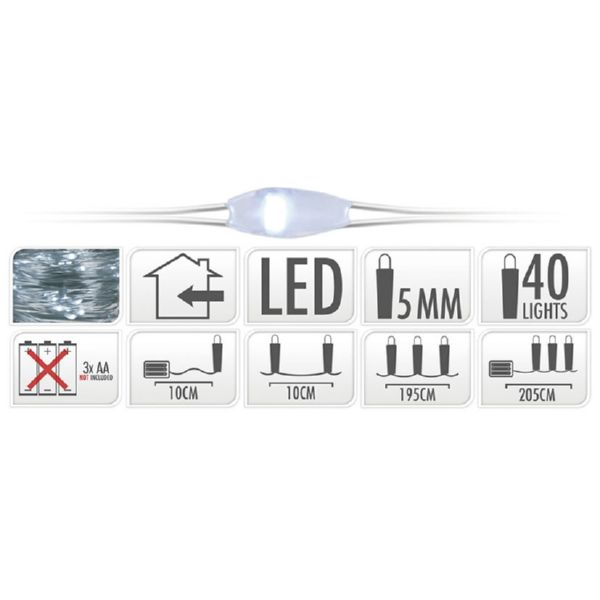 Luces led en alambre color plata con 40 micro Led