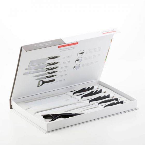 SET 6 CUCHILLOS SWISS NEGRO / BLANCO